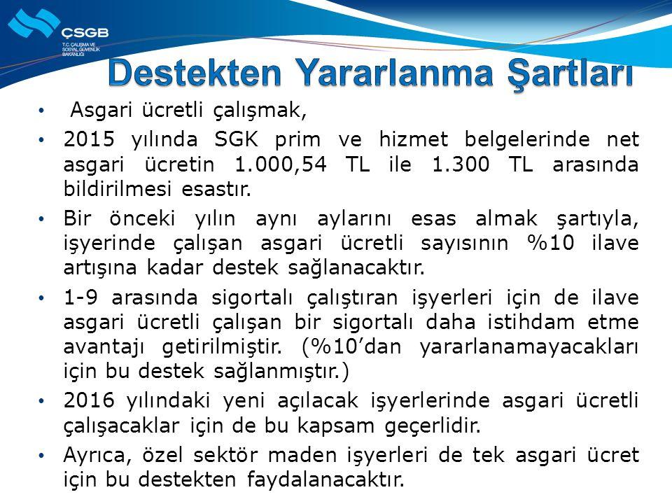 Asgari ücretli çalışmak, 2015 yılında SGK prim ve hizmet belgelerinde net asgari ücretin 1.000,54 TL ile 1.300 TL arasında bildirilmesi esastır.