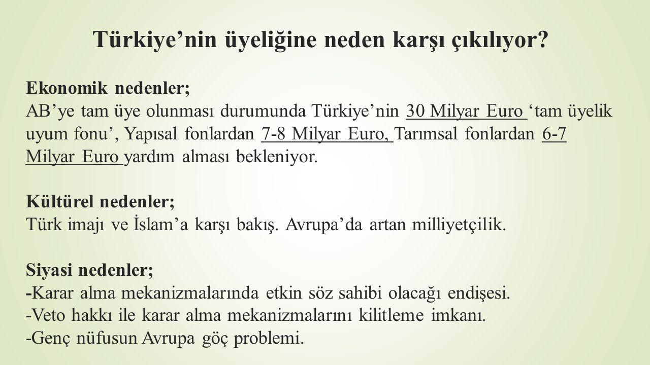Türkiye'nin üyeliğine neden karşı çıkılıyor? Ekonomik nedenler; AB'ye tam üye olunması durumunda Türkiye'nin 30 Milyar Euro 'tam üyelik uyum fonu', Ya