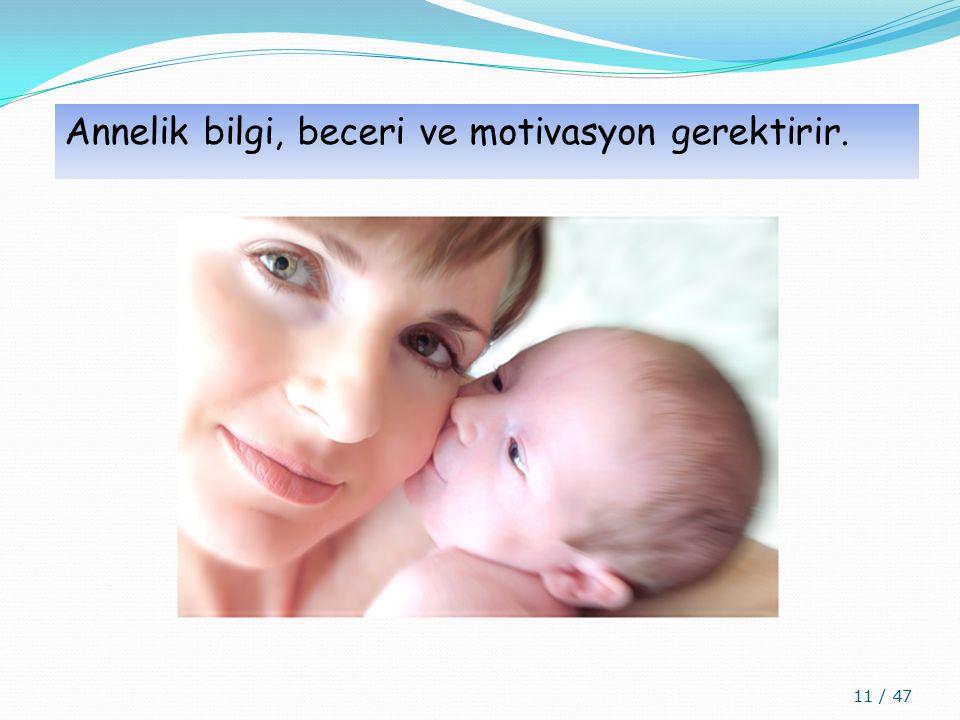 Annelik bilgi, beceri ve motivasyon gerektirir. 11 / 47