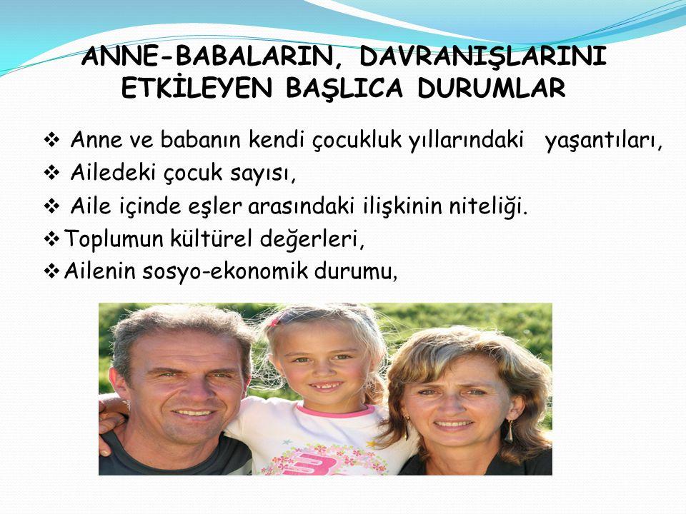 ANNE-BABALARIN, DAVRANIŞLARINI ETKİLEYEN BAŞLICA DURUMLAR  Anne ve babanın kendi çocukluk yıllarındaki yaşantıları,  Ailedeki çocuk sayısı,  Aile i