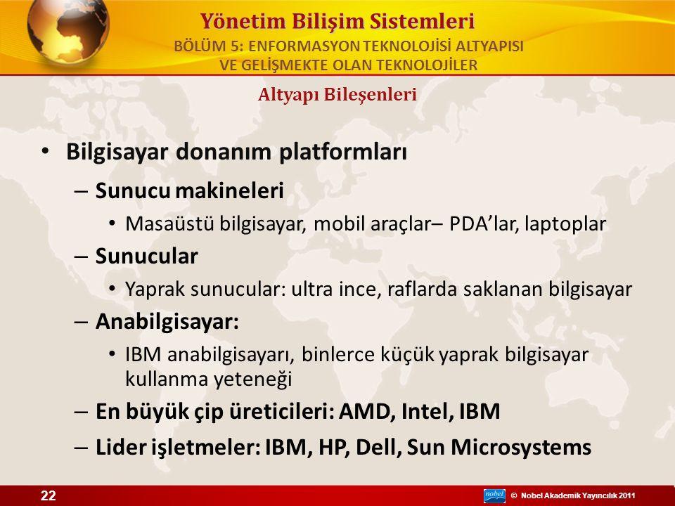 © Nobel Akademik Yayıncılık 2011 Yönetim Bilişim Sistemleri Bilgisayar donanım platformları – Sunucu makineleri Masaüstü bilgisayar, mobil araçlar– PD