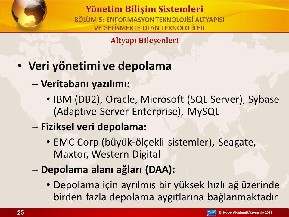 © Nobel Akademik Yayıncılık 2011 Yönetim Bilişim Sistemleri Veri yönetimi ve depolama – Veritabanı yazılımı: IBM (DB2), Oracle, Microsoft (SQL Server)