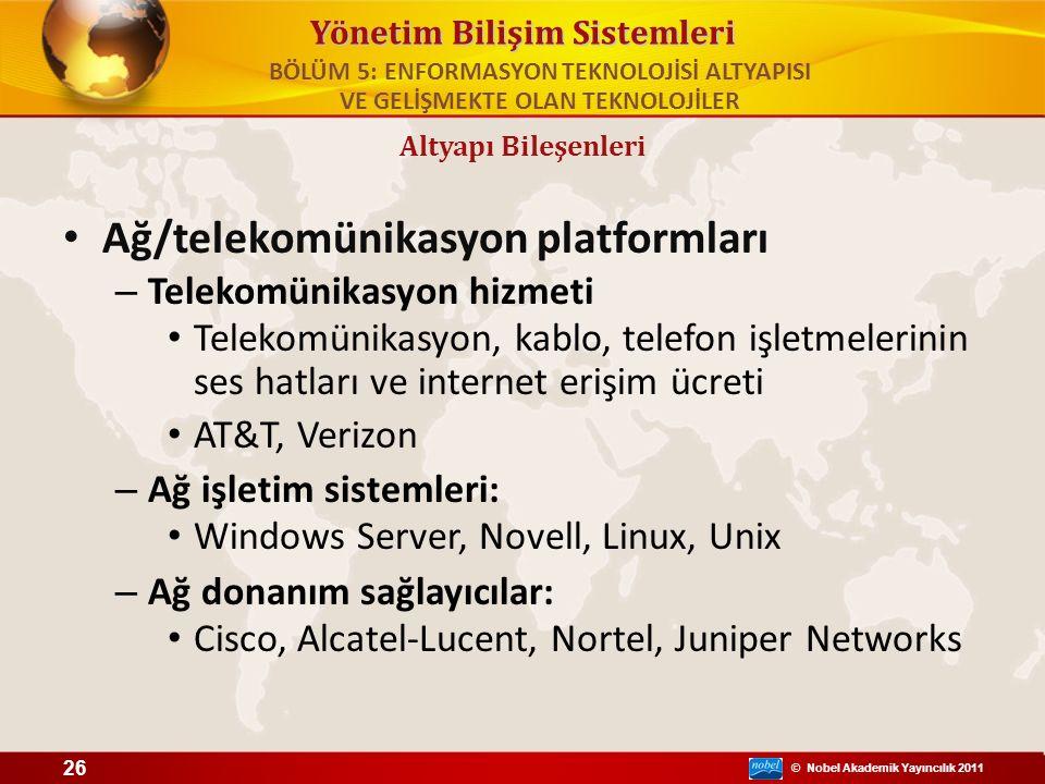 © Nobel Akademik Yayıncılık 2011 Yönetim Bilişim Sistemleri Ağ/telekomünikasyon platformları – Telekomünikasyon hizmeti Telekomünikasyon, kablo, telef