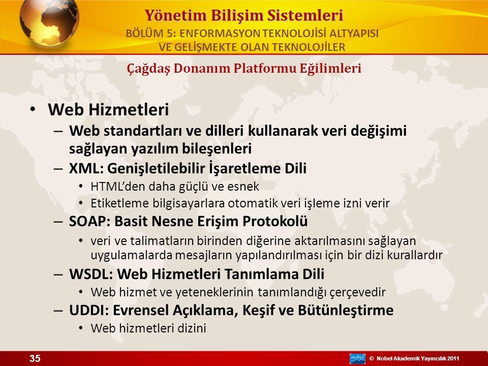 © Nobel Akademik Yayıncılık 2011 Yönetim Bilişim Sistemleri Web Hizmetleri – Web standartları ve dilleri kullanarak veri değişimi sağlayan yazılım bil
