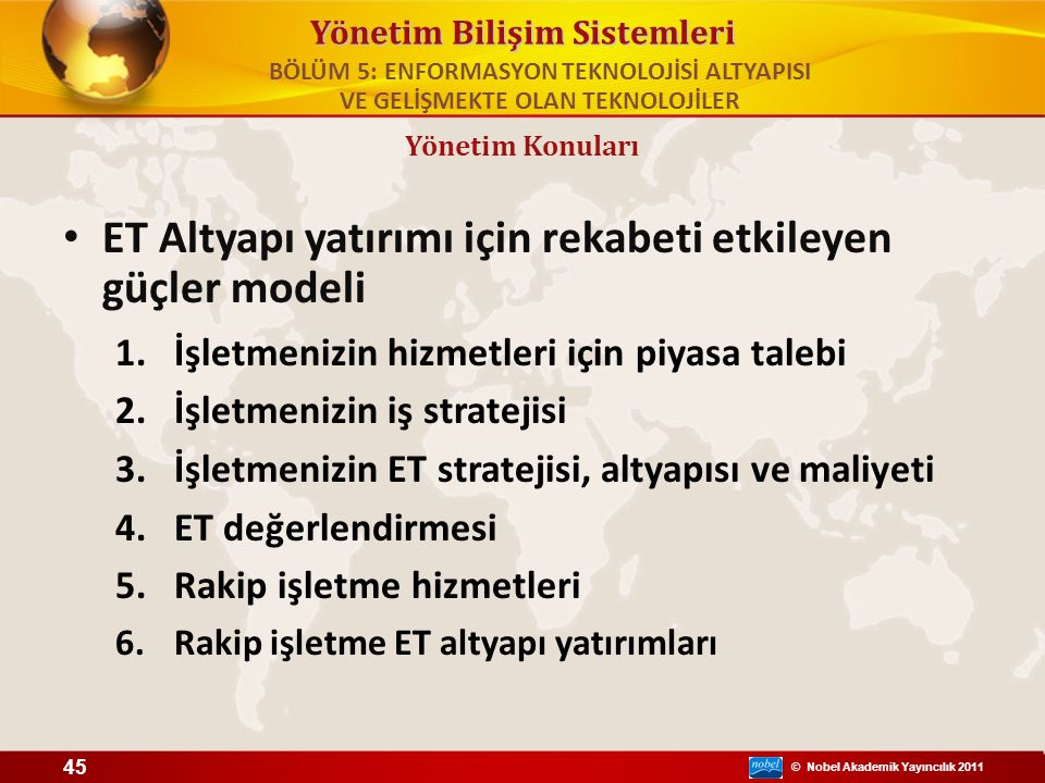 © Nobel Akademik Yayıncılık 2011 Yönetim Bilişim Sistemleri ET Altyapı yatırımı için rekabeti etkileyen güçler modeli 1.İşletmenizin hizmetleri için p