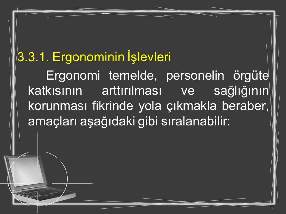 3.3.1. Ergonominin İşlevleri Ergonomi temelde, personelin örgüte katkısının arttırılması ve sağlığının korunması fikrinde yola çıkmakla beraber, amaçl
