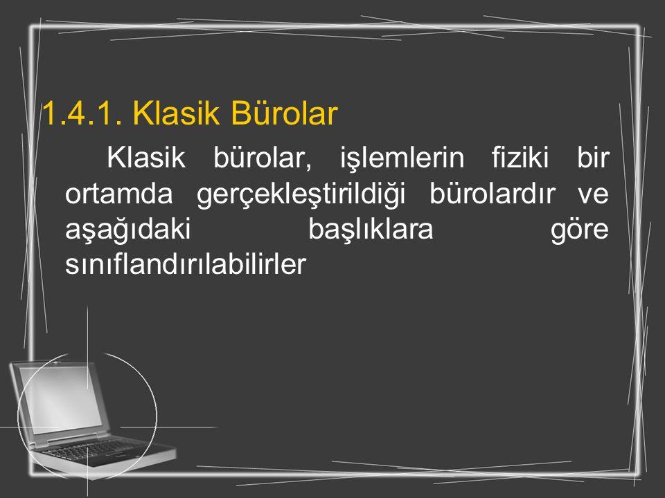 1.4.1. Klasik Bürolar Klasik bürolar, işlemlerin fiziki bir ortamda gerçekleştirildiği bürolardır ve aşağıdaki başlıklara göre sınıflandırılabilirler