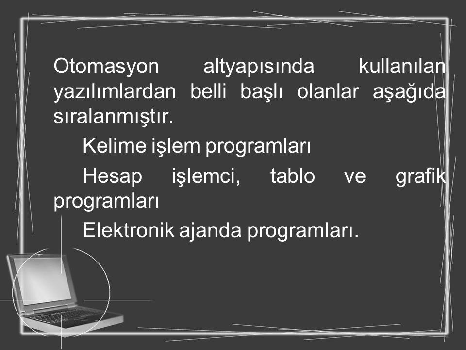 Otomasyon altyapısında kullanılan yazılımlardan belli başlı olanlar aşağıda sıralanmıştır. Kelime işlem programları Hesap işlemci, tablo ve grafik pro
