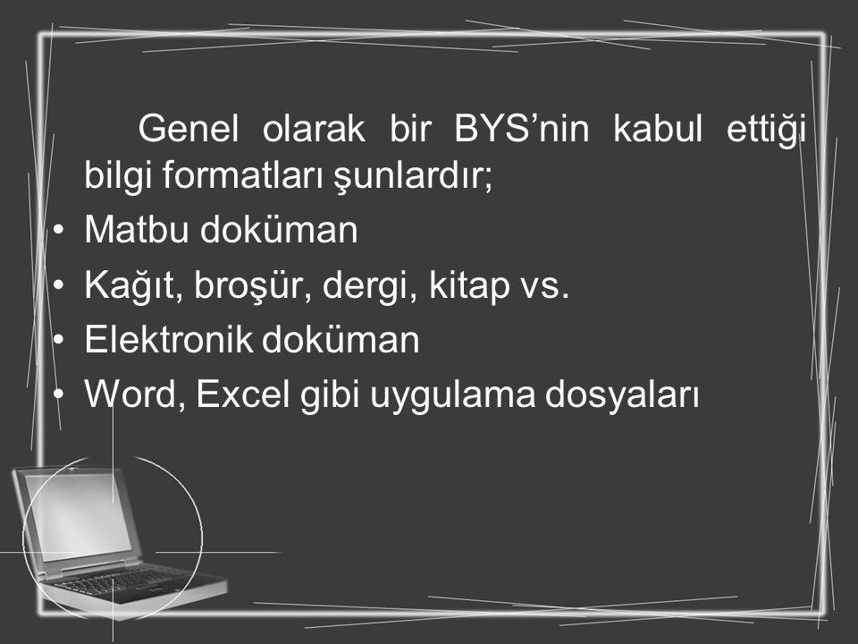 Genel olarak bir BYS'nin kabul ettiği bilgi formatları şunlardır; Matbu doküman Kağıt, broşür, dergi, kitap vs. Elektronik doküman Word, Excel gibi uy