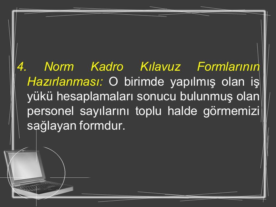 4. Norm Kadro Kılavuz Formlarının Hazırlanması: O birimde yapılmış olan iş yükü hesaplamaları sonucu bulunmuş olan personel sayılarını toplu halde gör