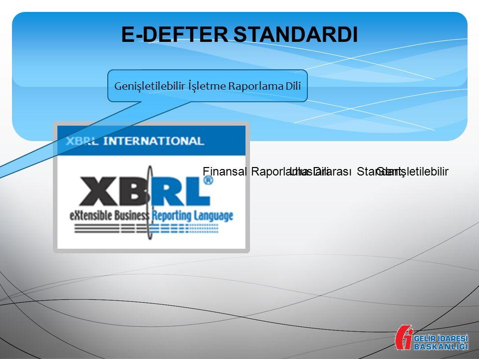 E-DEFTER STANDARDI Genişletilebilir İşletme Raporlama Dili Uluslararası StandartFinansal Raporlama DiliGenişletilebilir