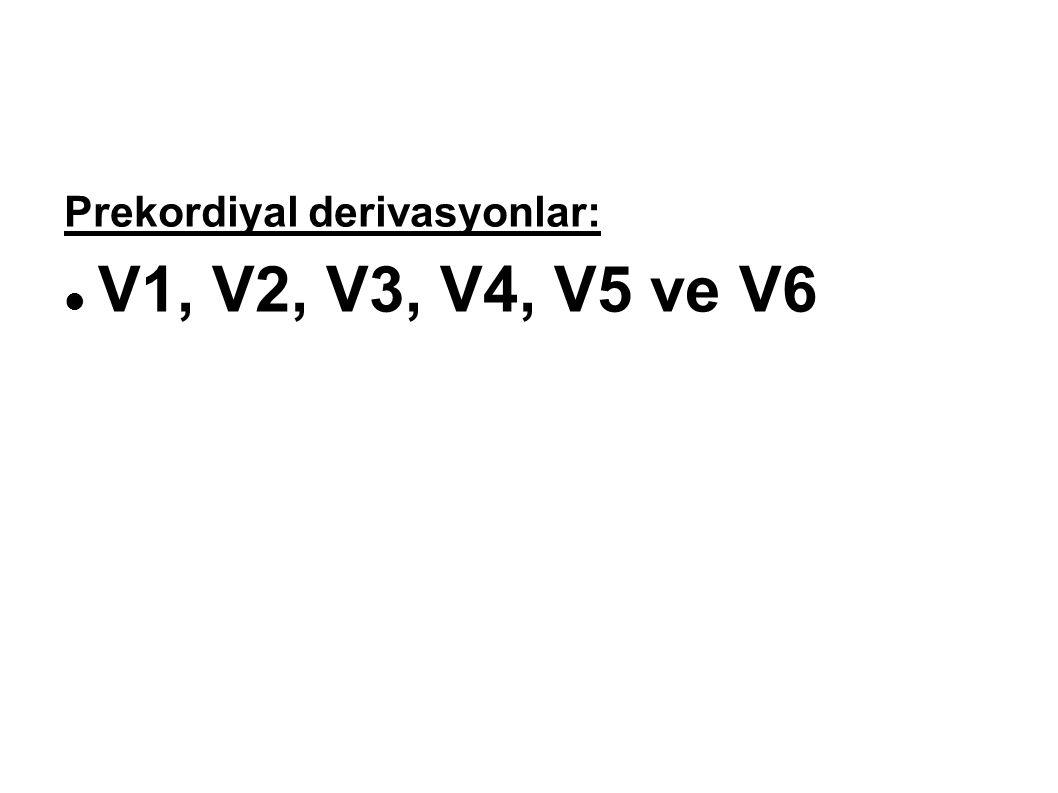 Prekordiyal derivasyonlar: V1, V2, V3, V4, V5 ve V6