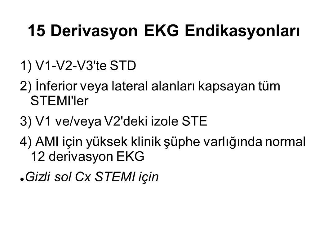 15 Derivasyon EKG Endikasyonları 1) V1-V2-V3'te STD 2) İnferior veya lateral alanları kapsayan tüm STEMI'ler 3) V1 ve/veya V2'deki izole STE 4) AMI iç