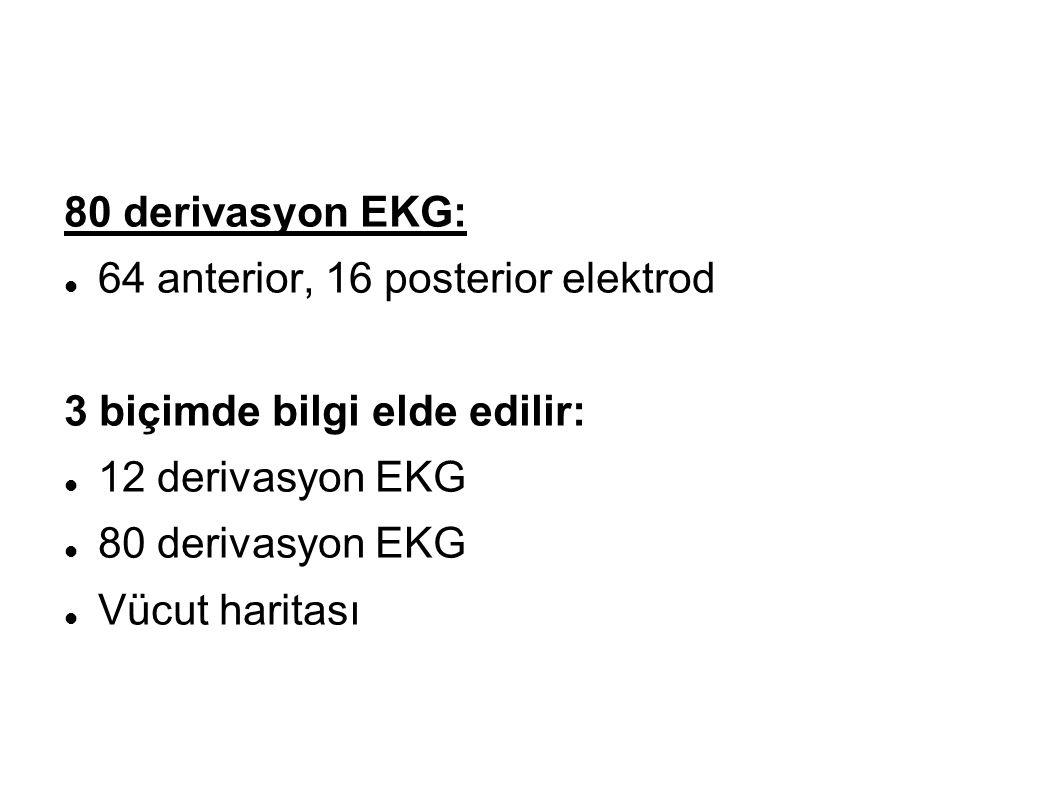 80 derivasyon EKG: 64 anterior, 16 posterior elektrod 3 biçimde bilgi elde edilir: 12 derivasyon EKG 80 derivasyon EKG Vücut haritası