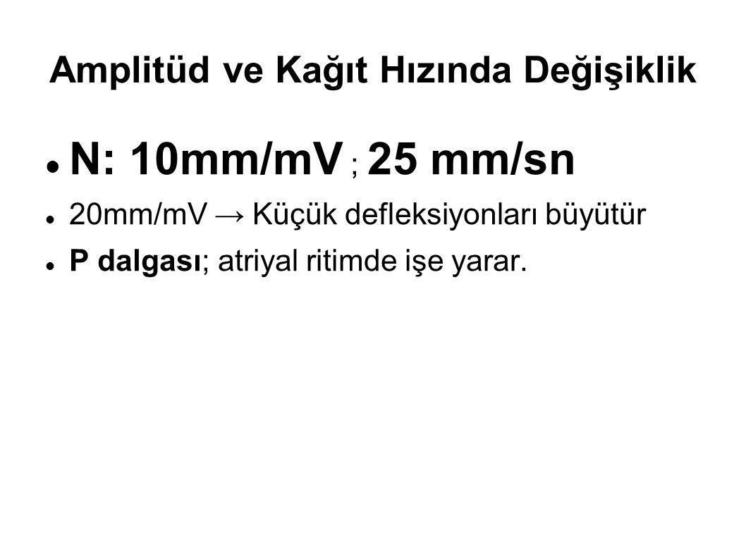 Amplitüd ve Kağıt Hızında Değişiklik N: 10mm/mV ; 25 mm/sn 20mm/mV → Küçük defleksiyonları büyütür P dalgası; atriyal ritimde işe yarar.