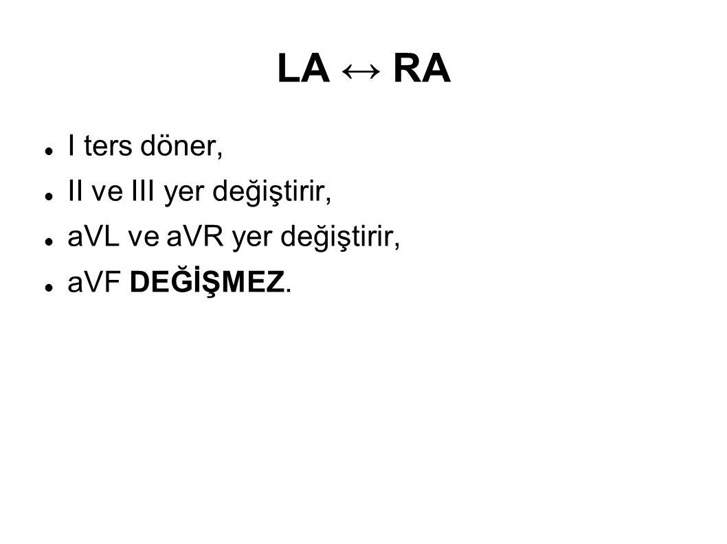 LA ↔ RA I ters döner, II ve III yer değiştirir, aVL ve aVR yer değiştirir, aVF DEĞİŞMEZ.
