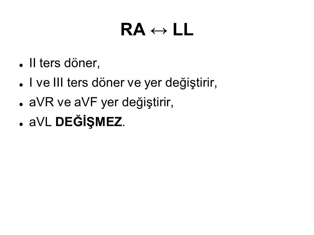 RA ↔ LL II ters döner, I ve III ters döner ve yer değiştirir, aVR ve aVF yer değiştirir, aVL DEĞİŞMEZ.