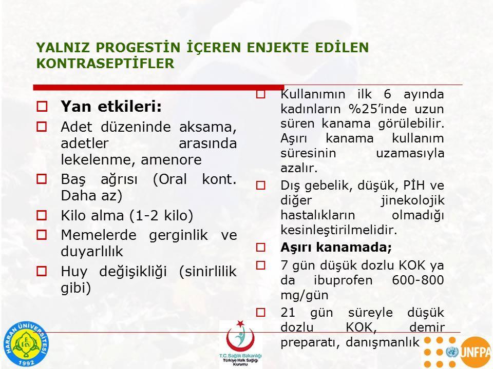 YALNIZ PROGESTİN İÇEREN ENJEKTE EDİLEN KONTRASEPTİFLER  Yan etkileri:  Adet düzeninde aksama, adetler arasında lekelenme, amenore  Baş ağrısı (Oral