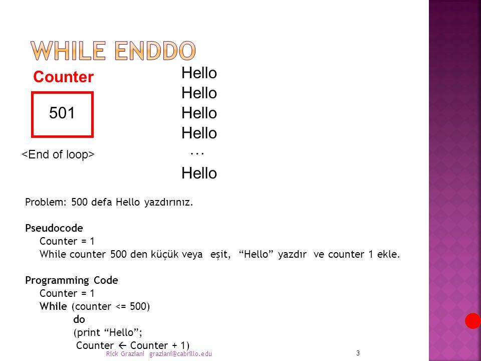 """Problem: 500 defa Hello yazdırınız. Pseudocode Counter = 1 While counter 500 den küçük veya eşit, """"Hello"""" yazdır ve counter 1 ekle. Programming Code C"""