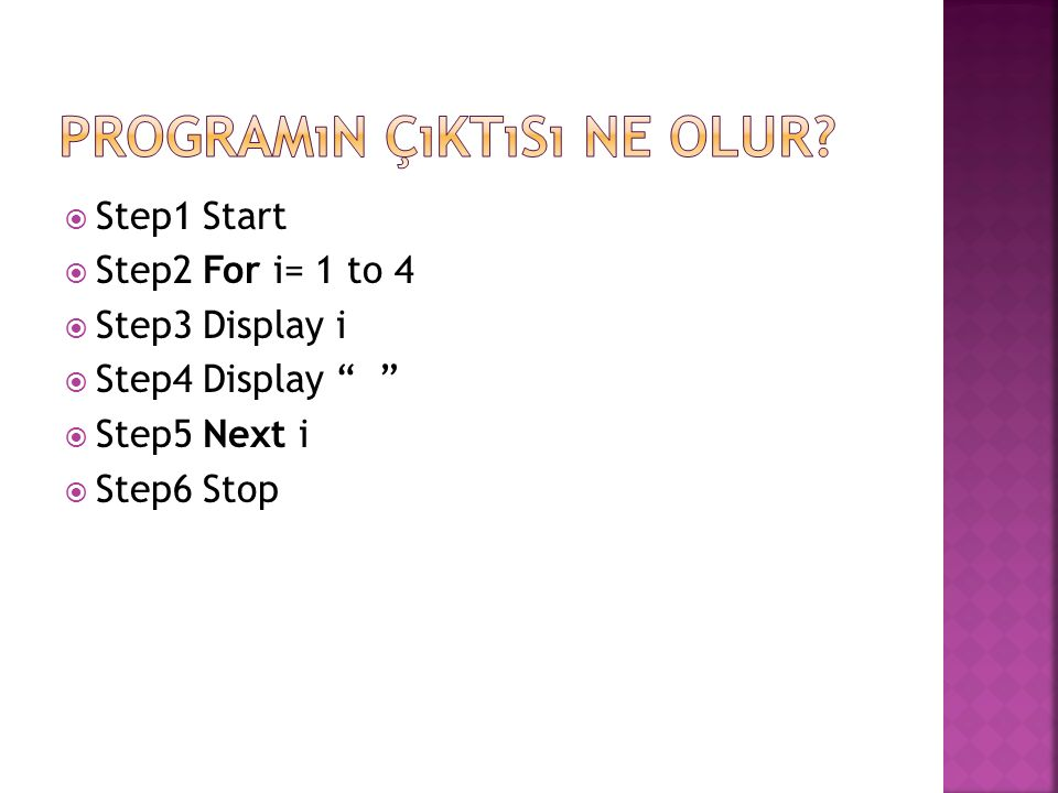 " Step1 Start  Step2 For i= 1 to 4  Step3 Display i  Step4 Display "" ""  Step5 Next i  Step6 Stop"