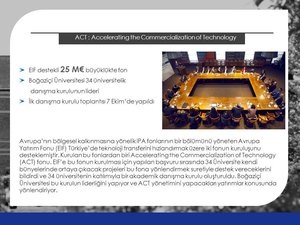 2014 ÖSYS Sonuçları ACT : Accelerating the Commercialization of Technology EIF destekli 25 M€ büyüklükte fon Boğaziçi Üniversitesi 34 üniversitelik danışma kurulunun lideri İlk danışma kurulu toplantısı 7 Ekim'de yapıldı Avrupa'nın bölgesel kalkınmasına yönelik IPA fonlarının bir bölümünü yöneten Avrupa Yatırım Fonu (EIF) Türkiye'de teknoloji transferini hızlandırmak üzere iki fonun kuruluşunu desteklemiştir.