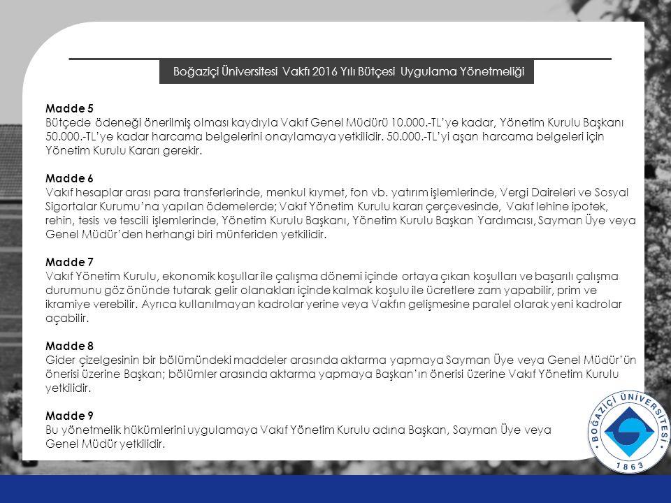 Boğaziçi Üniversitesi Vakfı 2016 Yılı Bütçesi Uygulama Yönetmeliği v v Madde 5 Bütçede ödeneği önerilmiş olması kaydıyla Vakıf Genel Müdürü 10.000.-TL'ye kadar, Yönetim Kurulu Başkanı 50.000.-TL'ye kadar harcama belgelerini onaylamaya yetkilidir.