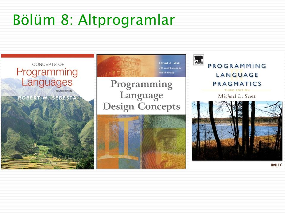 Bölüm 8: Altprogramlar 1