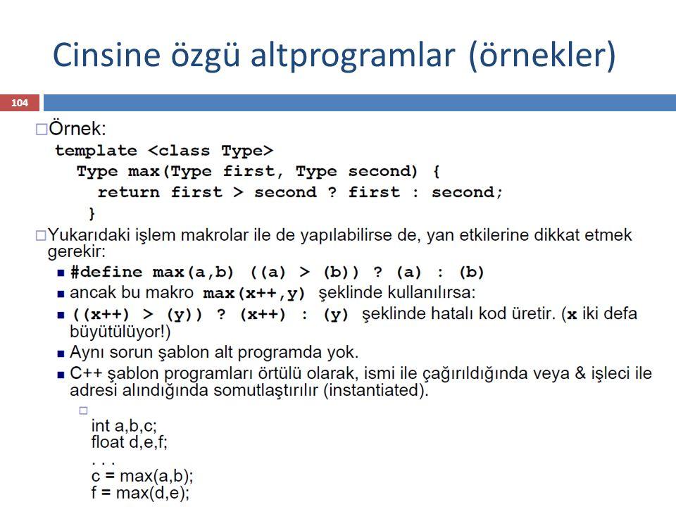 Cinsine özgü altprogramlar (örnekler) 104