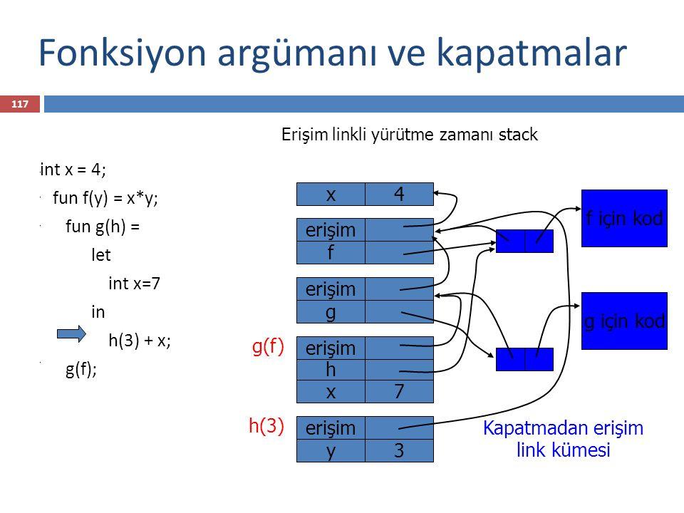 Fonksiyon argümanı ve kapatmalar int x = 4; fun f(y) = x*y; fun g(h) = let int x=7 in h(3) + x; g(f); x4 Kapatmadan erişim link kümesi f için kod f er