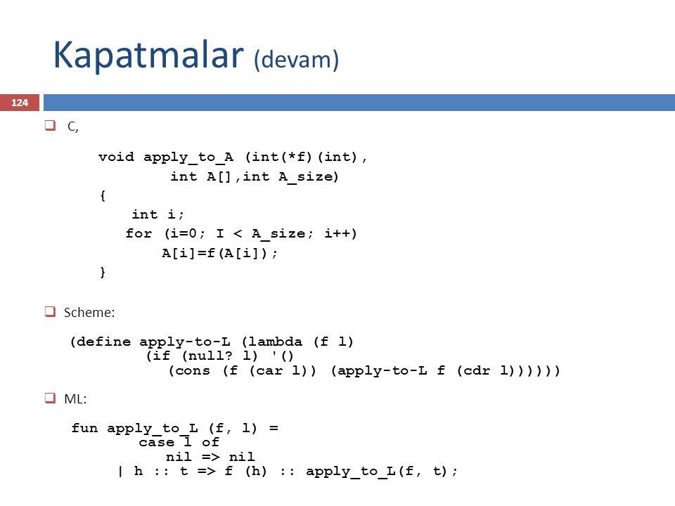Kapatmalar (devam) 124  C, void apply_to_A (int(*f)(int), int A[],int A_size) { int i; for (i=0; I < A_size; i++) A[i]=f(A[i]); }  Scheme: (define a