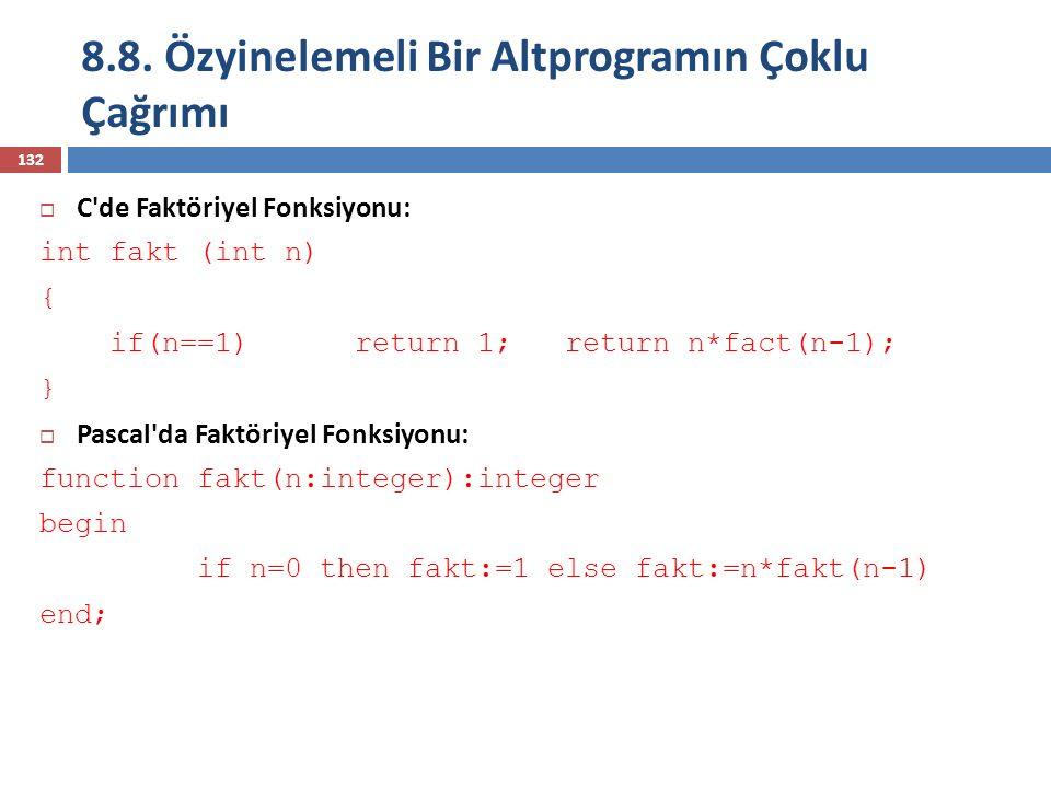 8.8. Özyinelemeli Bir Altprogramın Çoklu Çağrımı 132  C'de Faktöriyel Fonksiyonu: int fakt (int n) { if(n==1) return 1; return n*fact(n-1); }  Pasca