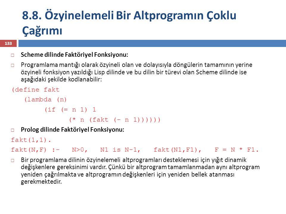 8.8. Özyinelemeli Bir Altprogramın Çoklu Çağrımı 133  Scheme dilinde Faktöriyel Fonksiyonu:  Programlama mantığı olarak özyineli olan ve dolayısıyla