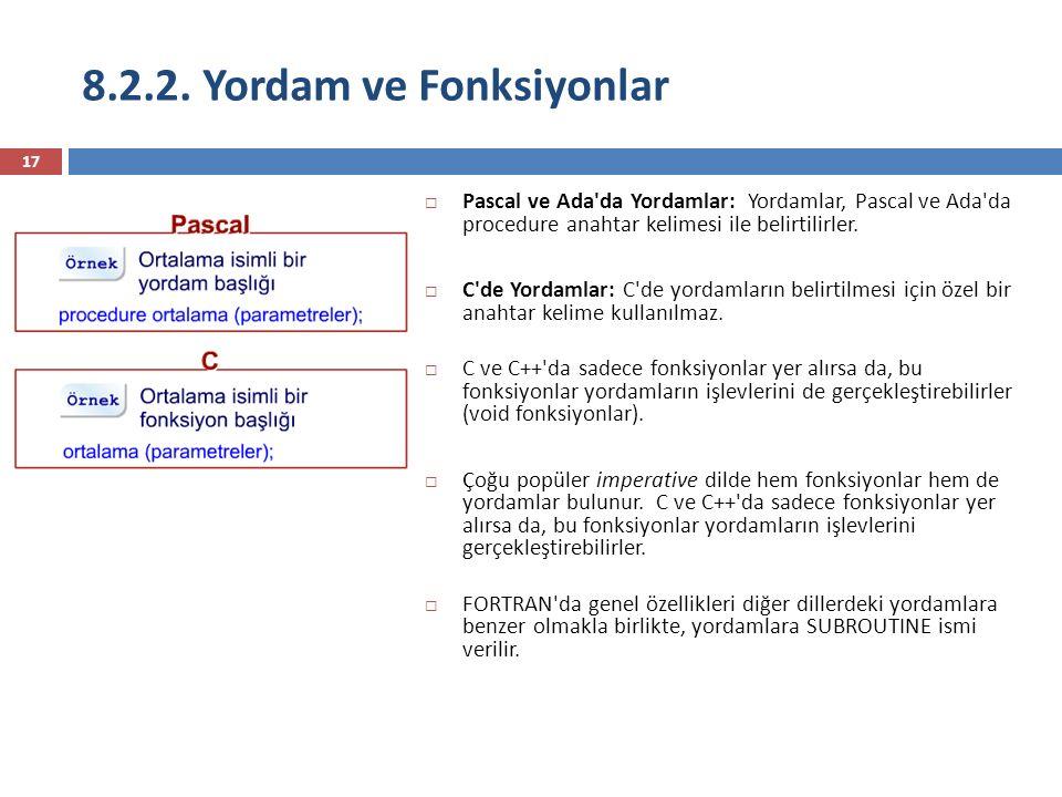 8.2.2. Yordam ve Fonksiyonlar 17  Pascal ve Ada'da Yordamlar: Yordamlar, Pascal ve Ada'da procedure anahtar kelimesi ile belirtilirler.  C'de Yordam
