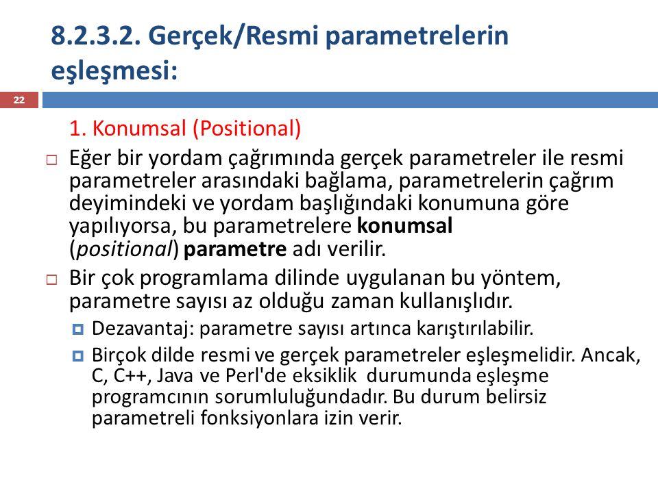 8.2.3.2. Gerçek/Resmi parametrelerin eşleşmesi: 22 1. Konumsal (Positional)  Eğer bir yordam çağrımında gerçek parametreler ile resmi parametreler ar