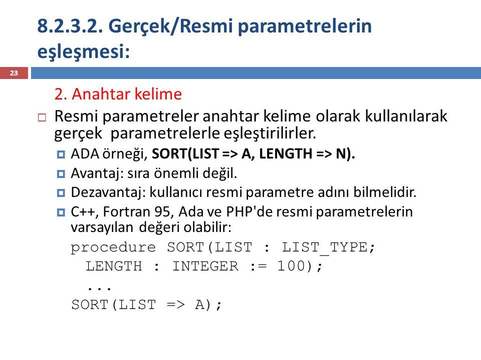 8.2.3.2. Gerçek/Resmi parametrelerin eşleşmesi: 23 2. Anahtar kelime  Resmi parametreler anahtar kelime olarak kullanılarak gerçek parametrelerle eşl