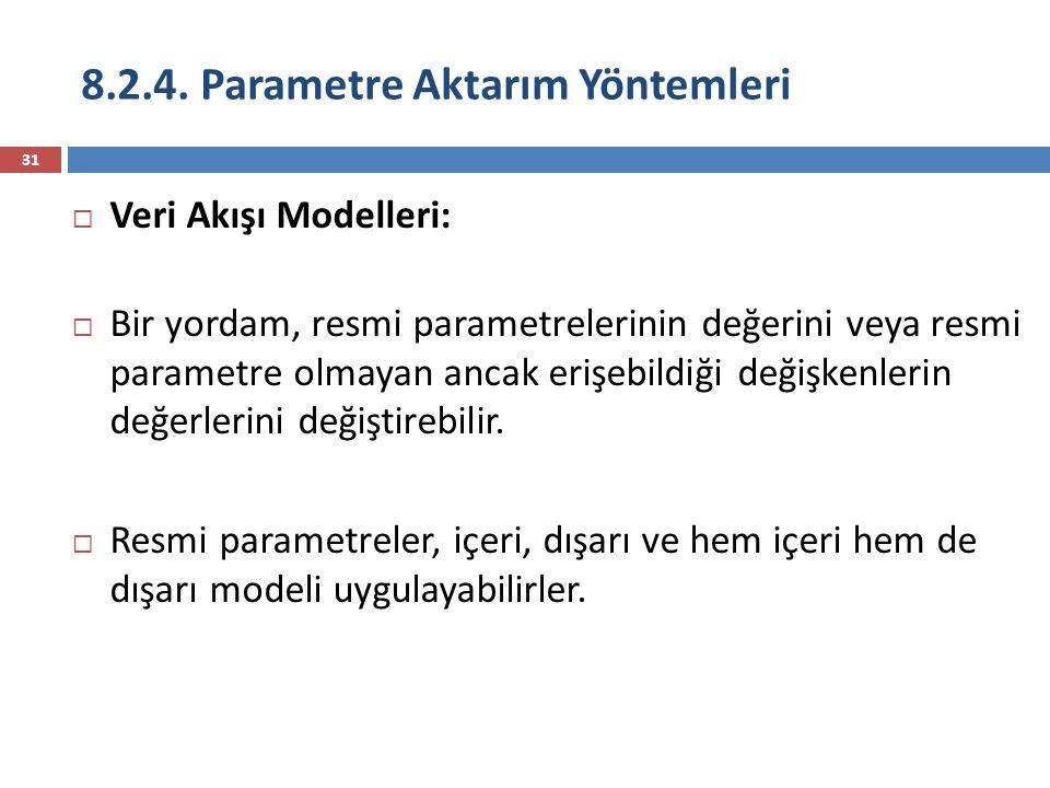 8.2.4. Parametre Aktarım Yöntemleri 31  Veri Akışı Modelleri:  Bir yordam, resmi parametrelerinin değerini veya resmi parametre olmayan ancak erişeb