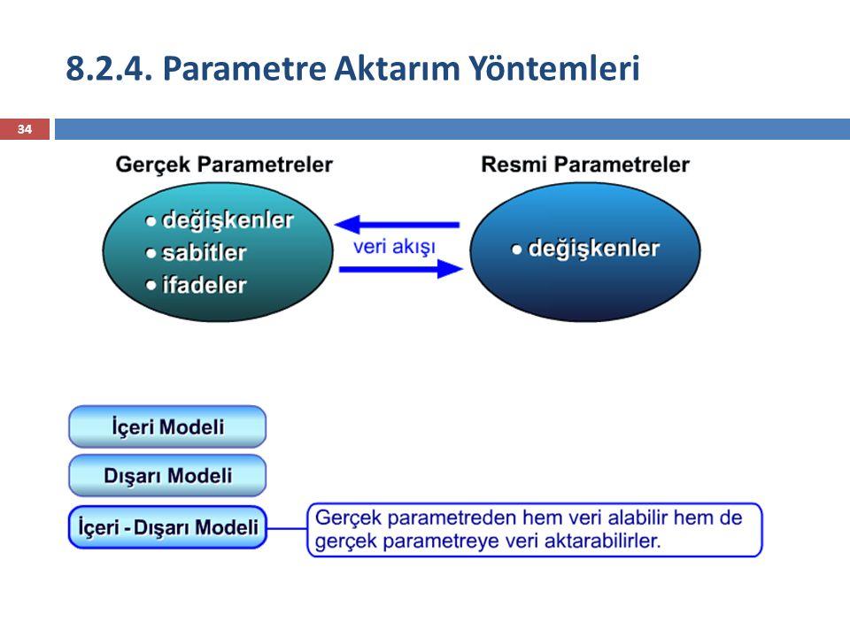 8.2.4. Parametre Aktarım Yöntemleri 34