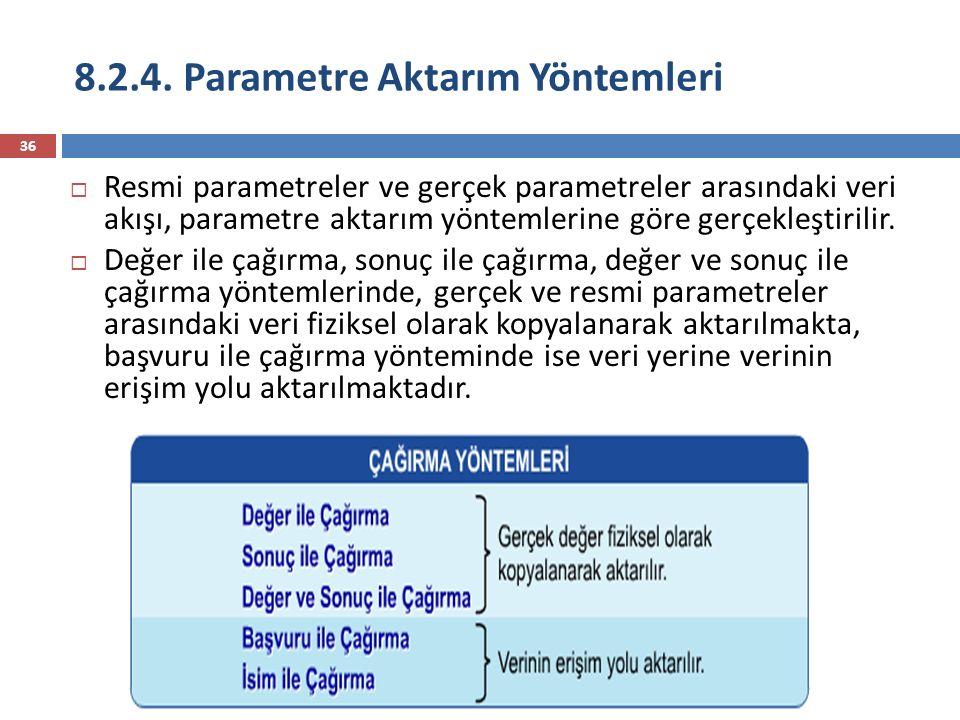 36  Resmi parametreler ve gerçek parametreler arasındaki veri akışı, parametre aktarım yöntemlerine göre gerçekleştirilir.  Değer ile çağırma, sonuç