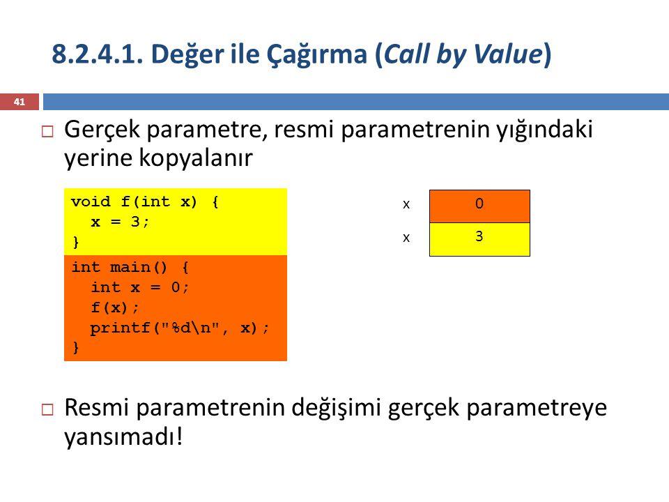 8.2.4.1. Değer ile Çağırma (Call by Value) 41 int main() { int x = 0; f(x); printf(