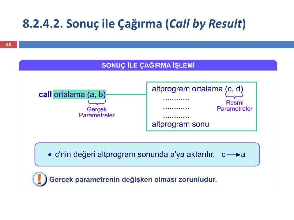 8.2.4.2. Sonuç ile Çağırma (Call by Result) 43