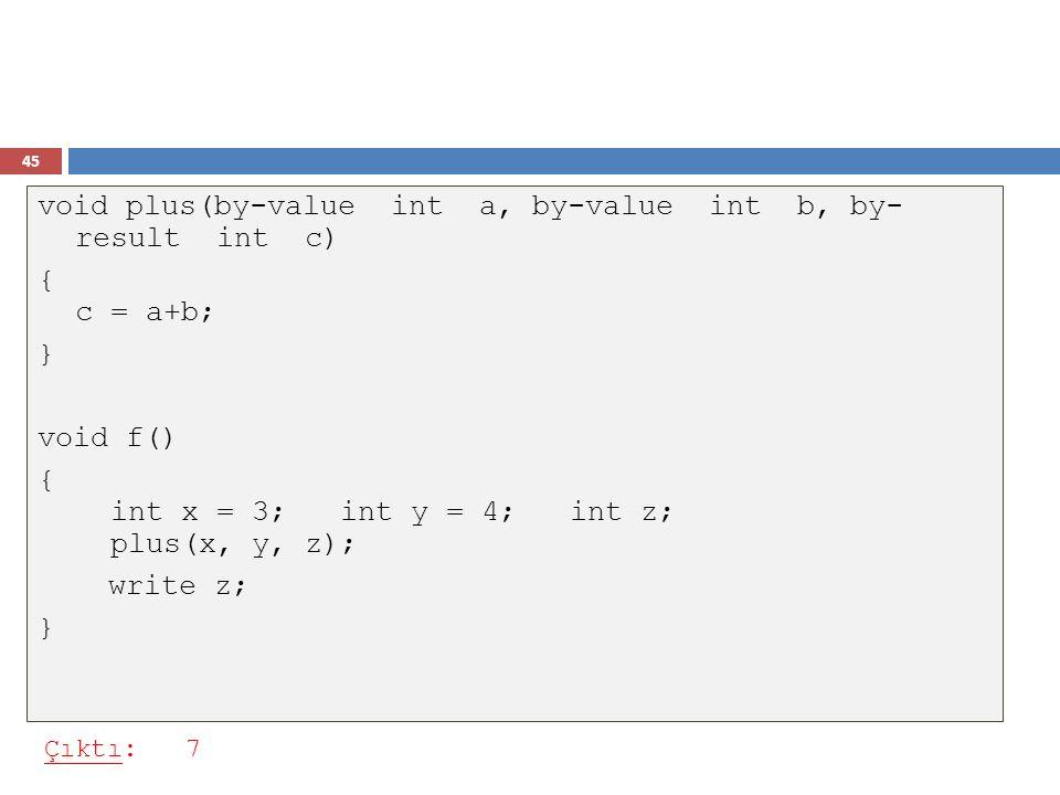 45 void plus(by-value int a, by-value int b, by- result int c) { c = a+b; } void f() { int x = 3; int y = 4; int z; plus(x, y, z); write z; } Çıktı: 7
