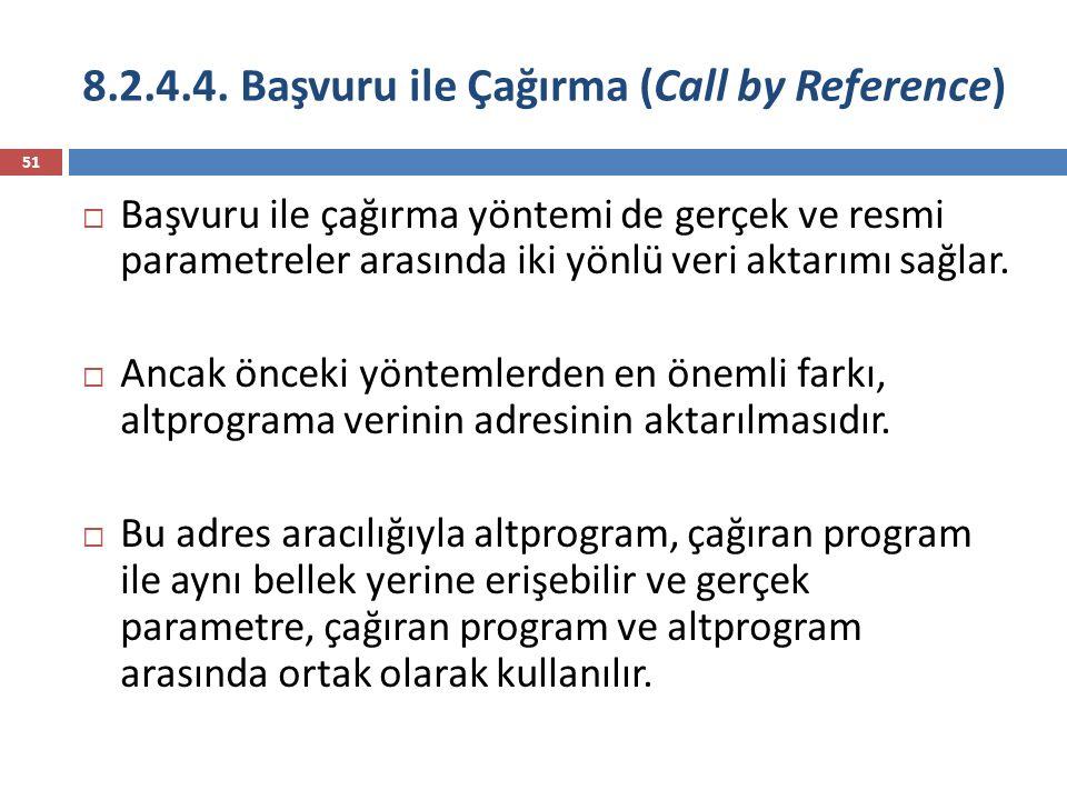8.2.4.4. Başvuru ile Çağırma (Call by Reference) 51  Başvuru ile çağırma yöntemi de gerçek ve resmi parametreler arasında iki yönlü veri aktarımı sağ