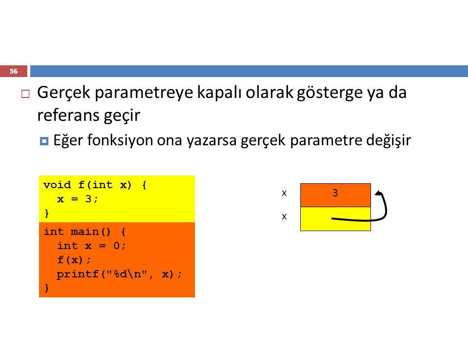56  Gerçek parametreye kapalı olarak gösterge ya da referans geçir  Eğer fonksiyon ona yazarsa gerçek parametre değişir int main() { int x = 0; f(x)