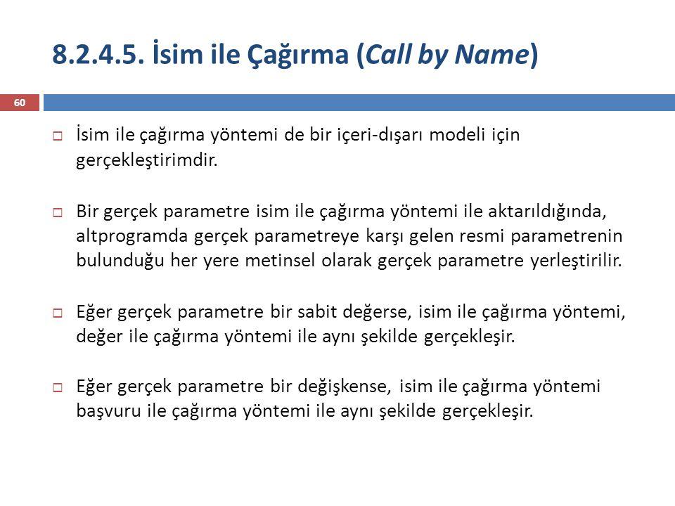 8.2.4.5. İsim ile Çağırma (Call by Name) 60  İsim ile çağırma yöntemi de bir içeri-dışarı modeli için gerçekleştirimdir.  Bir gerçek parametre isim