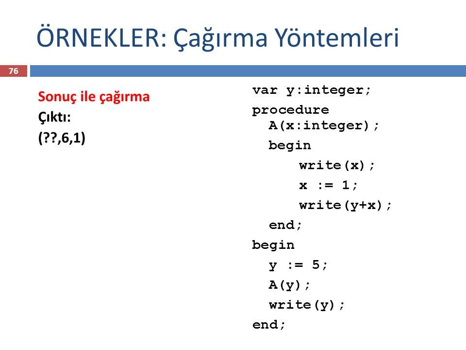 ÖRNEKLER: Çağırma Yöntemleri var y:integer; procedure A(x:integer); begin write(x); x := 1; write(y+x); end; begin y := 5; A(y); write(y); end; Sonuç