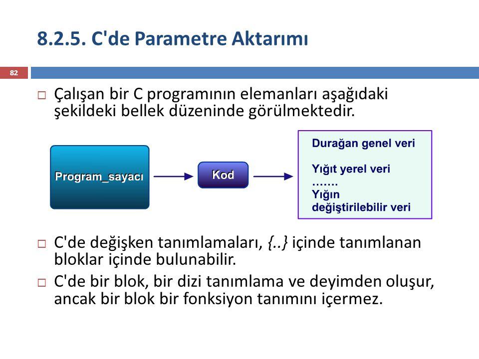 8.2.5. C'de Parametre Aktarımı 82  Çalışan bir C programının elemanları aşağıdaki şekildeki bellek düzeninde görülmektedir.  C'de değişken tanımlama