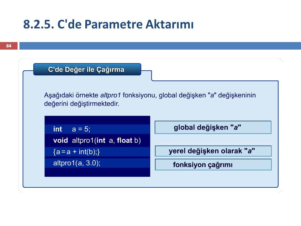 8.2.5. C'de Parametre Aktarımı 84