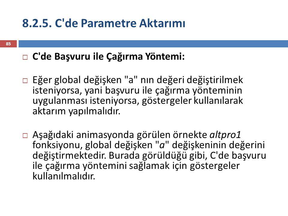 8.2.5. C'de Parametre Aktarımı 85  C'de Başvuru ile Çağırma Yöntemi:  Eğer global değişken
