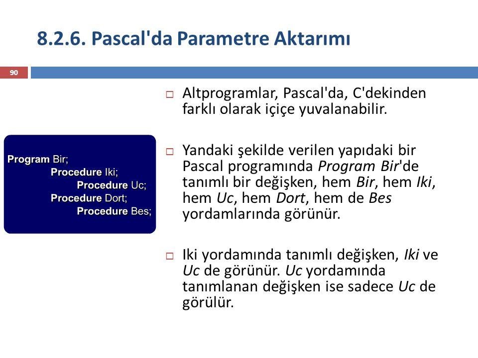 8.2.6. Pascal'da Parametre Aktarımı 90  Altprogramlar, Pascal'da, C'dekinden farklı olarak içiçe yuvalanabilir.  Yandaki şekilde verilen yapıdaki bi