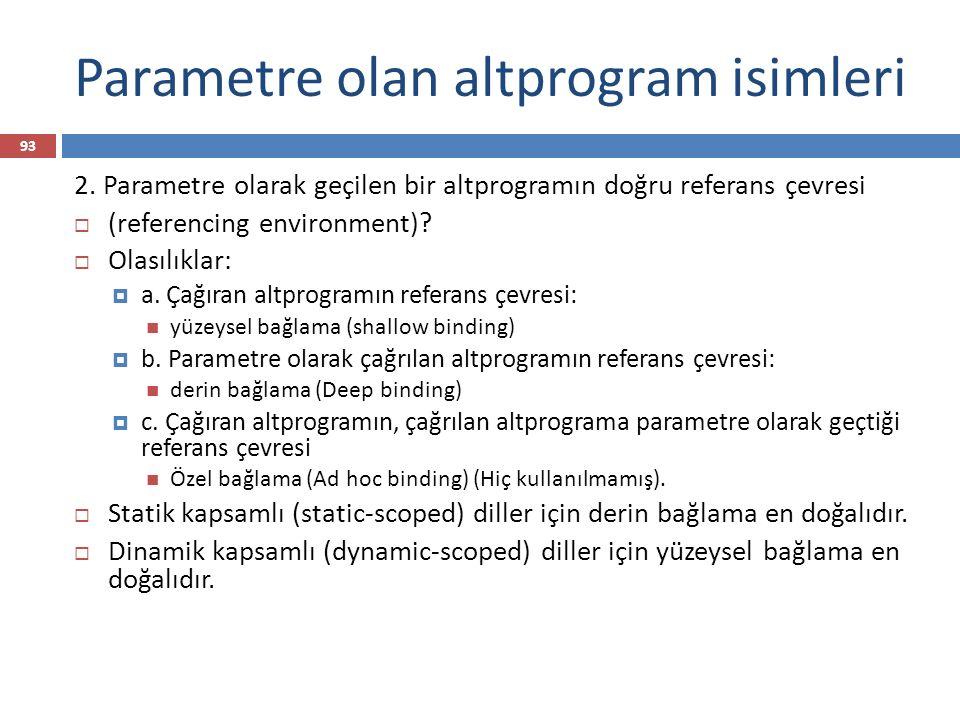 Parametre olan altprogram isimleri 93 2. Parametre olarak geçilen bir altprogramın doğru referans çevresi  (referencing environment)?  Olasılıklar: